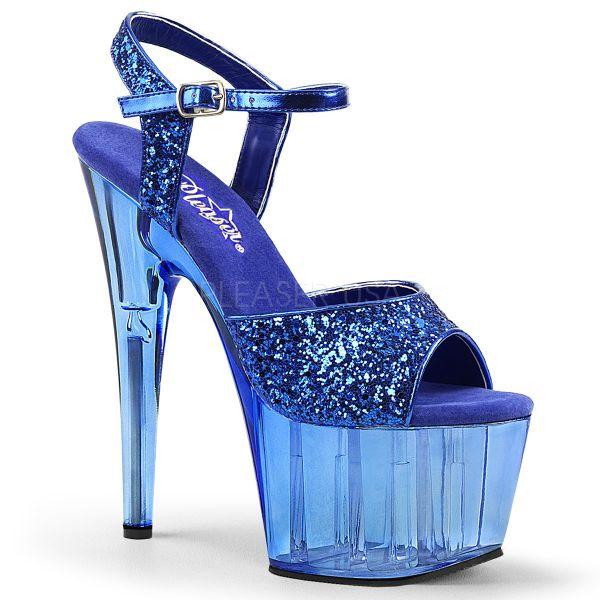 Blaue High Heel Glitter Sandalette mit blau getöntem Plateau ADORE-710GT